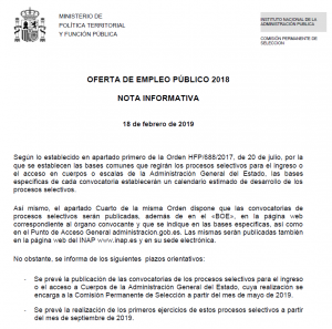 PREVISIÓN CONVOCATORIA Y EXAMENES CONVOCATORIA 2018 AGE